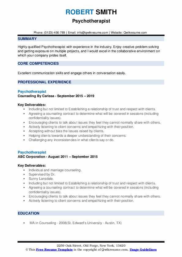 Psychotherapist Resume example