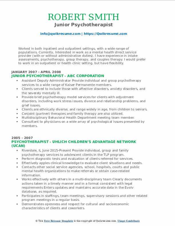 Sr. Staff Therapist Resume Format