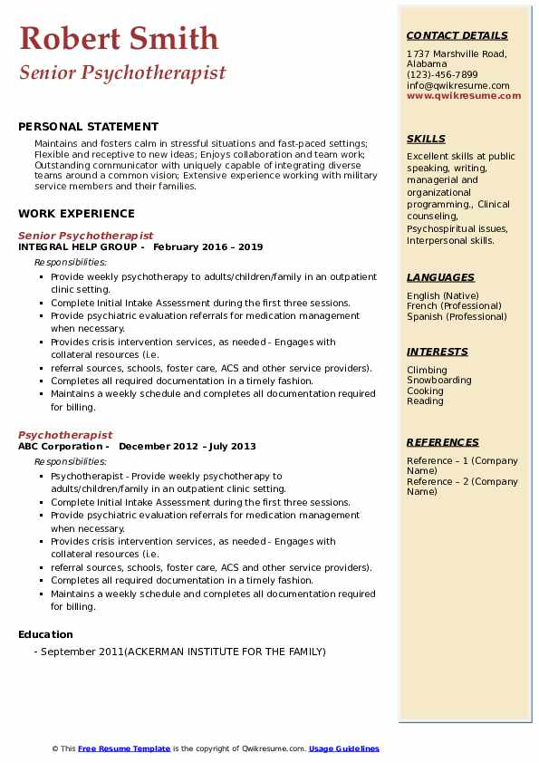 psychiatric social worker resume samples