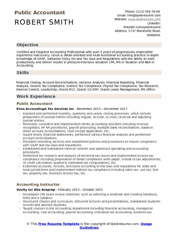Public Accountant Resume Model