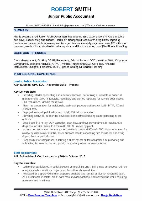 Junior Public Accountant Resume Template
