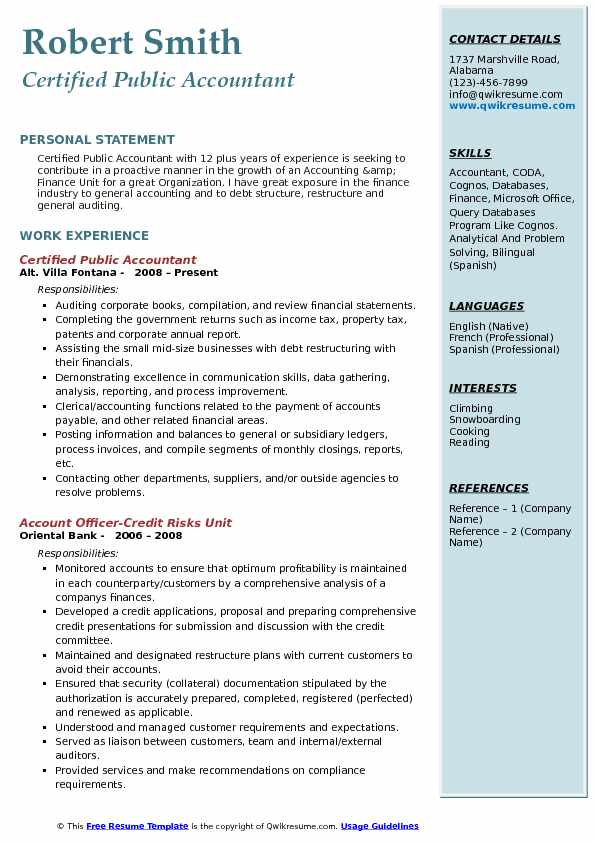 Certified Public Accountant Resume Example