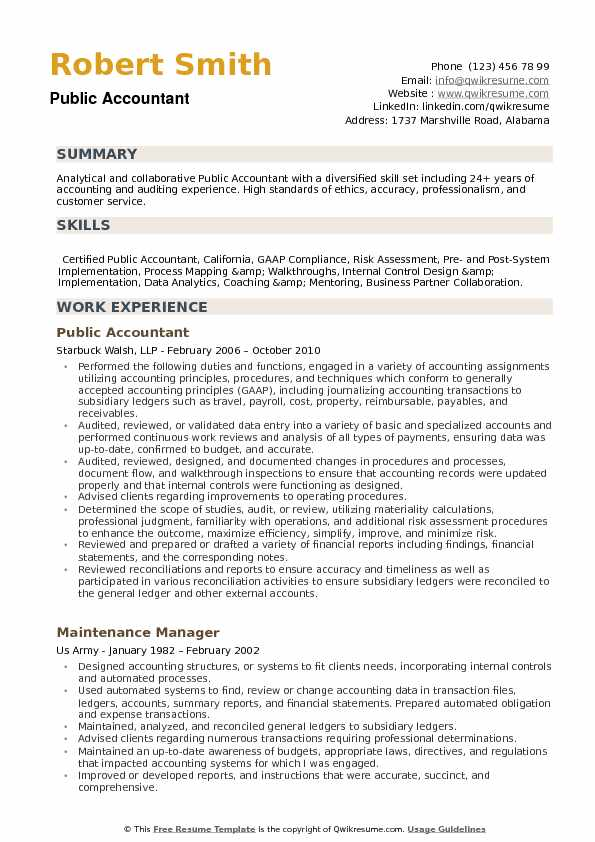 public accountant resume samples