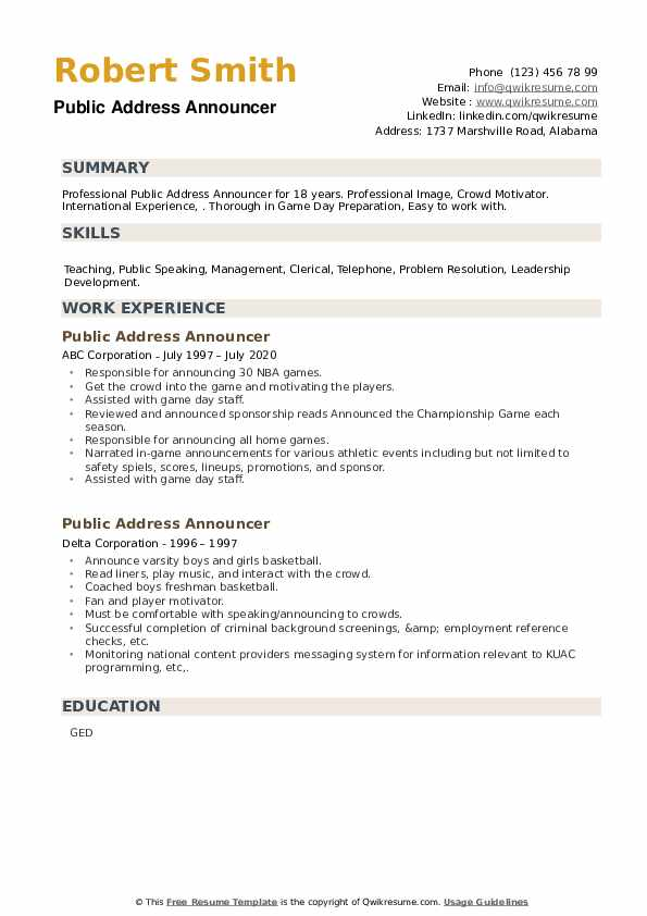 Public Address Announcer Resume example