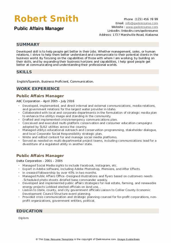 Public Affairs Manager Resume example