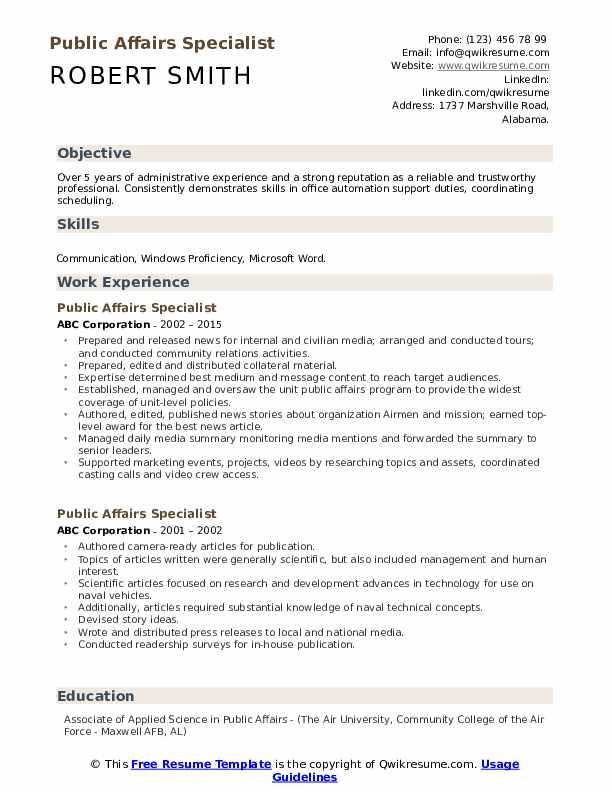 Public Affairs Specialist Resume example