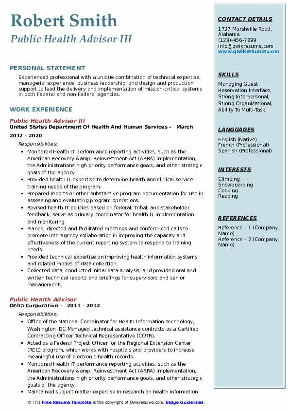 public health advisor resume samples