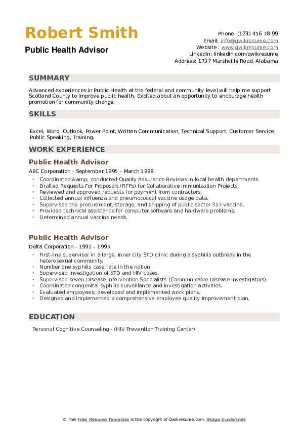 Public Health Advisor Resume example