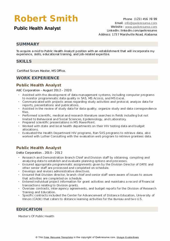 Public Health Analyst Resume example