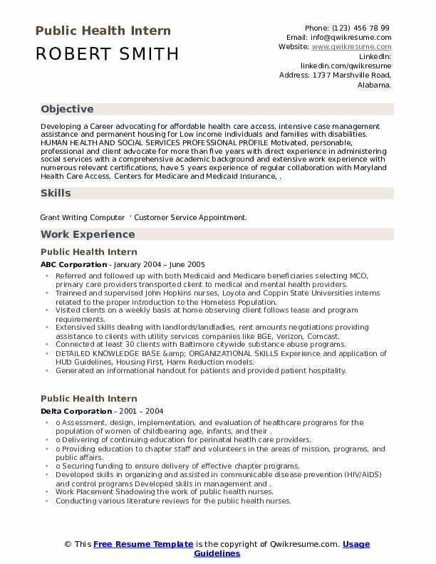 public health intern resume samples  qwikresume