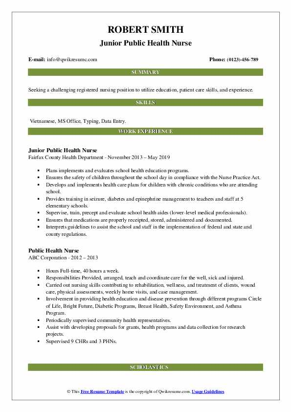 public health nurse resume samples