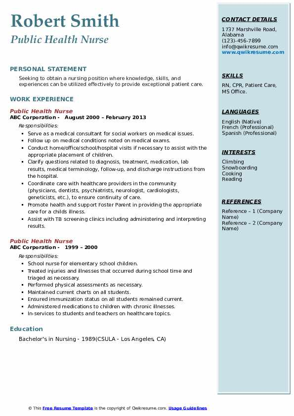 Public Health Nurse Resume example