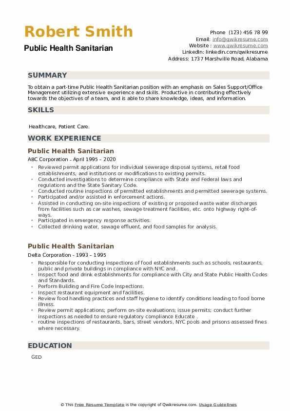 Public Health Sanitarian Resume example