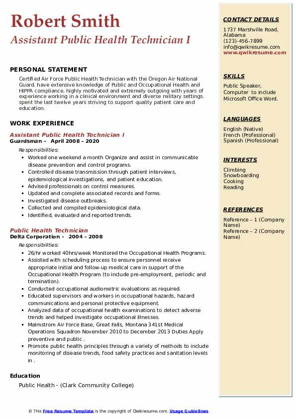 public health technician resume samples