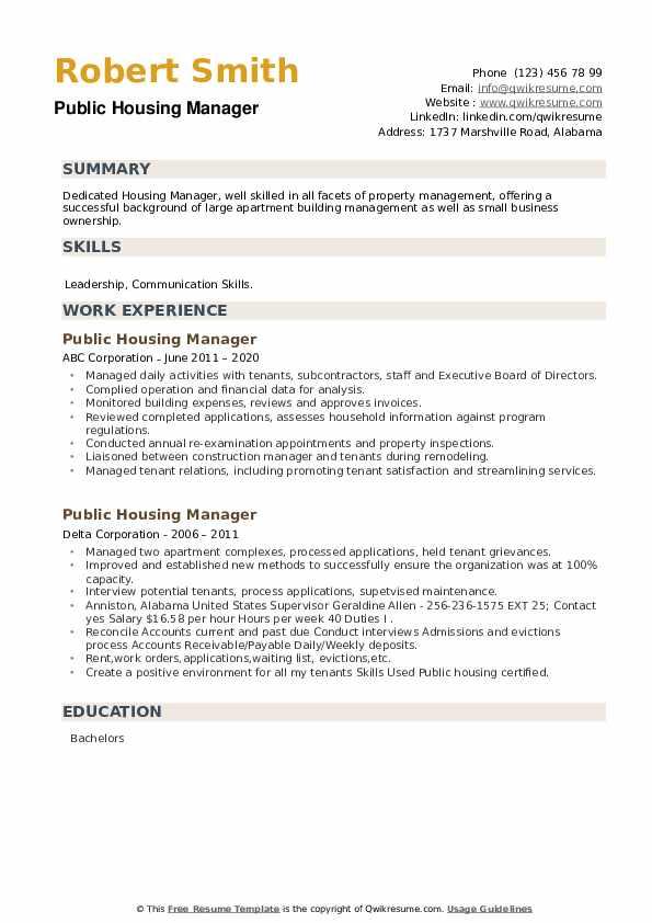 Public Housing Manager Resume example