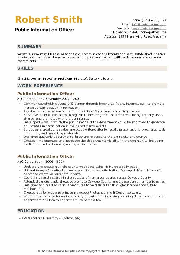 Public Information Officer Resume example