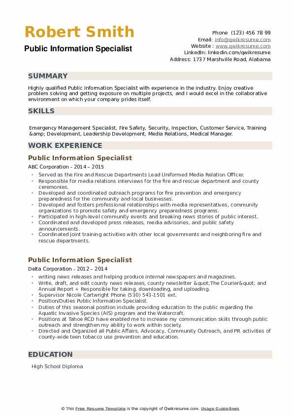 Public Information Specialist Resume example