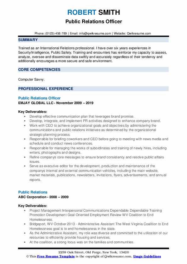 Public Relations Officer Resume Model
