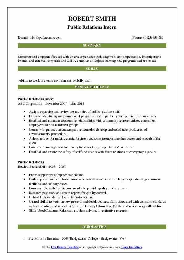 Public Relations Intern Resume Format