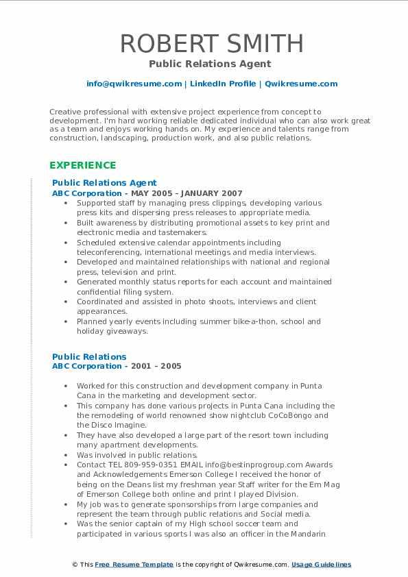 Public Relations Agent  Resume Format