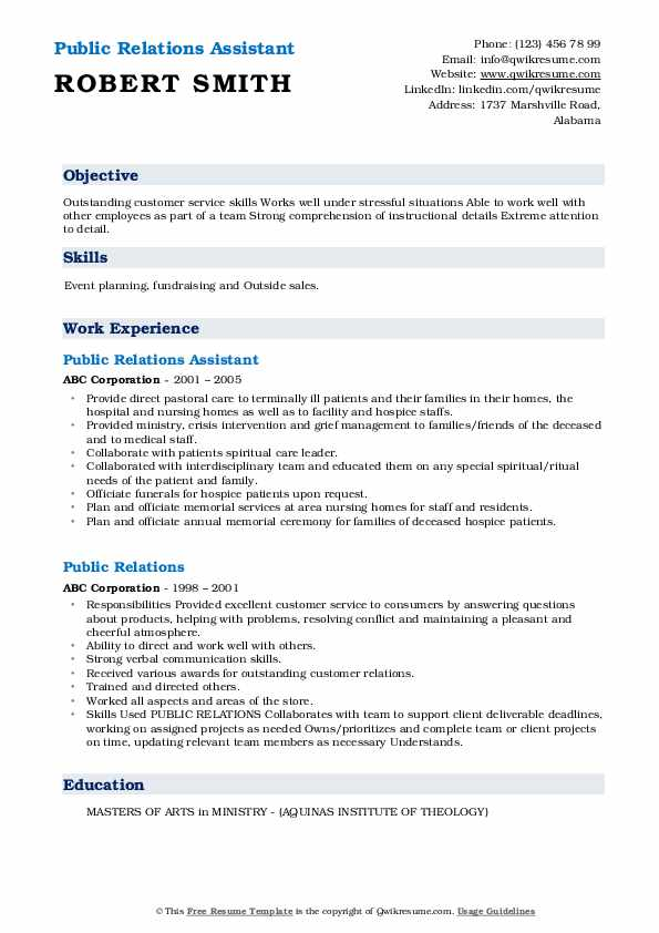 Public Relations Assistant Resume Template