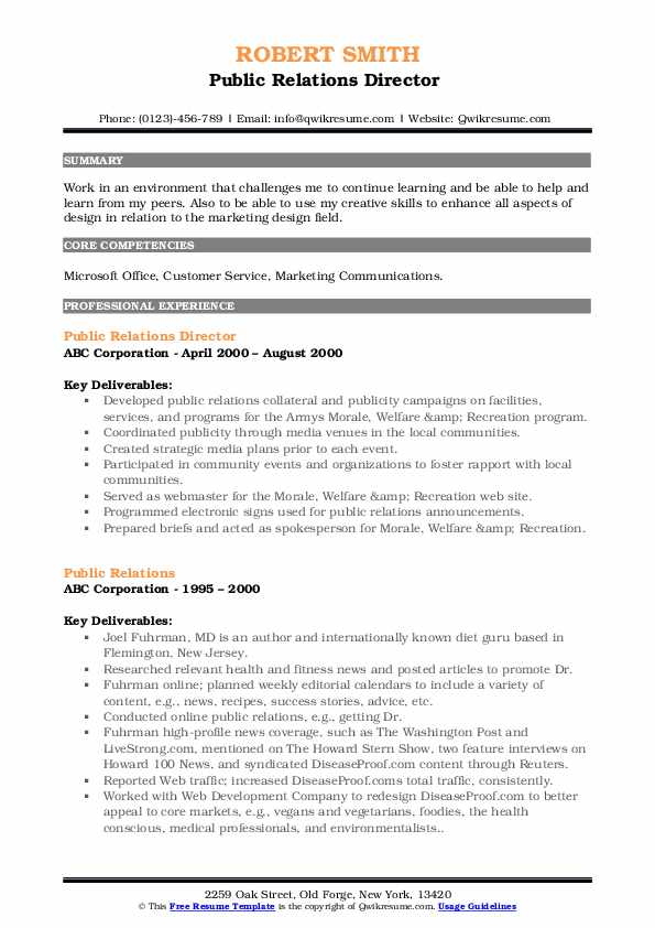 Public Relations Director  Resume Template
