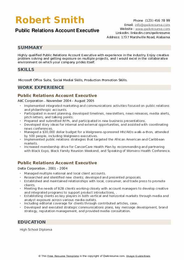 Public Relations Account Executive Resume example