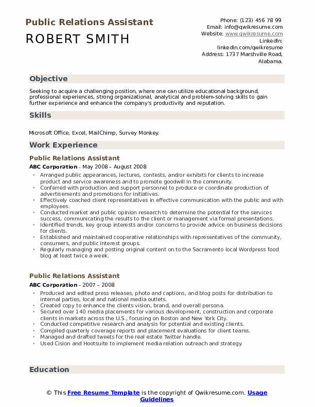Public Relations Assistant Resume Model