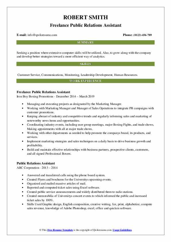 Freelance Public Relations Assistant Resume Example