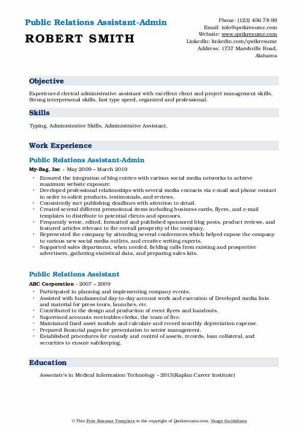 Public Relations Assistant-Admin Resume Format