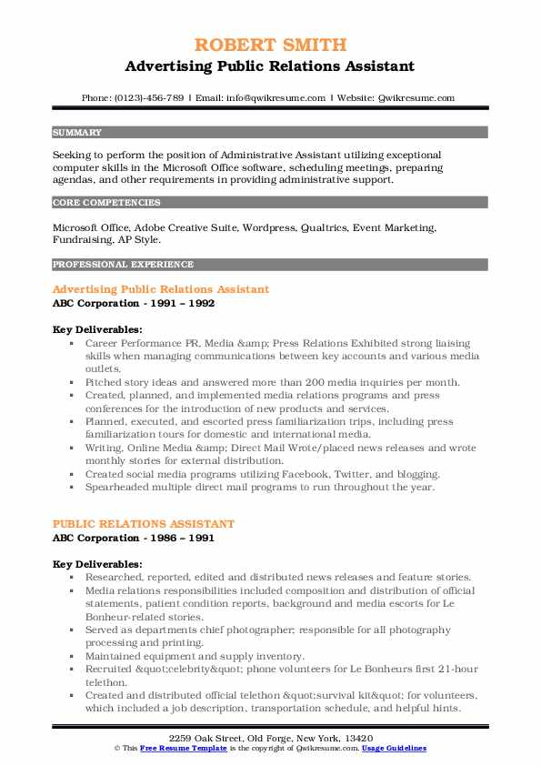 Advertising Public Relations Assistant Resume Example