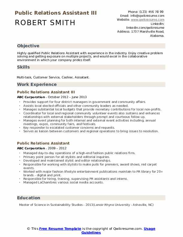 Public Relations Assistant III Resume Sample