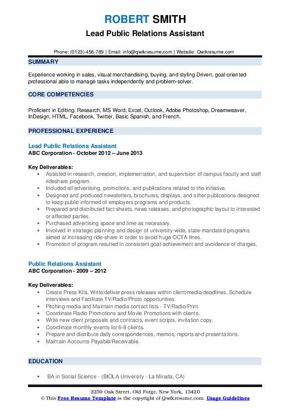 Lead Public Relations Assistant Resume Example