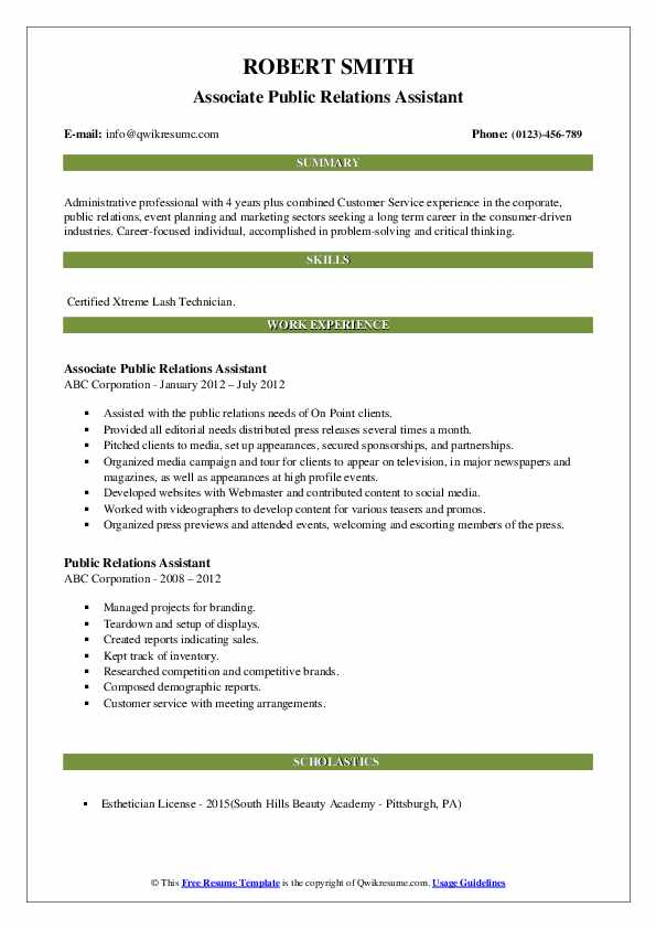 Associate Public Relations Assistant Resume Example