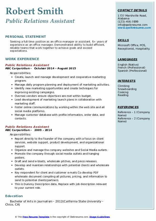 Public Relations Assistant Resume example