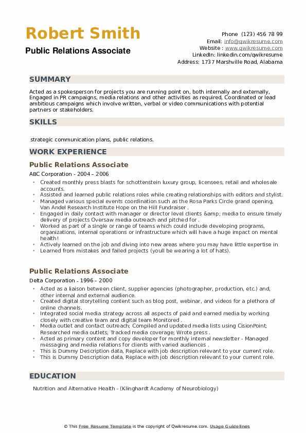 Public Relations Associate Resume example