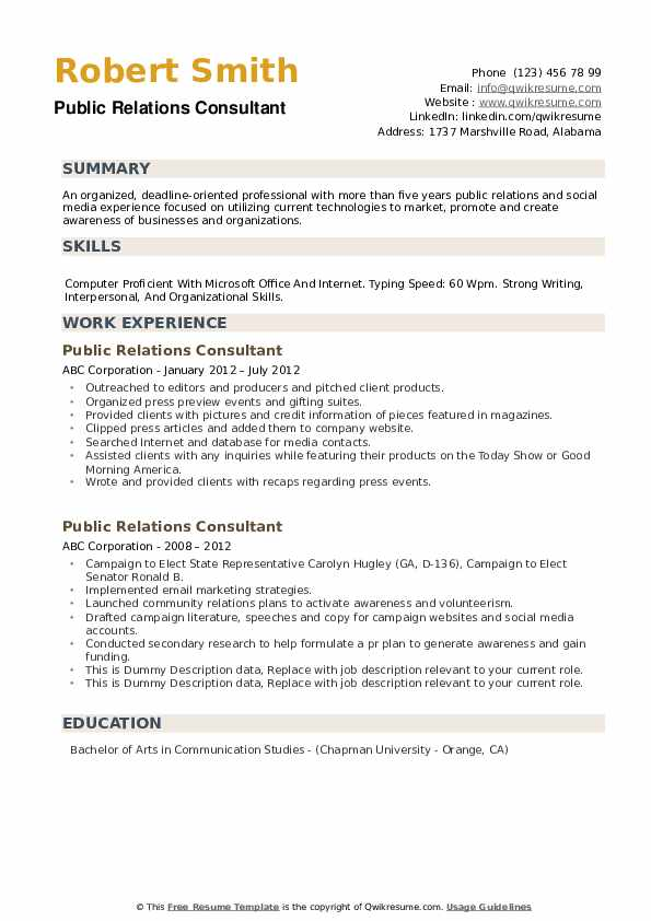 Public Relations Consultant Resume example