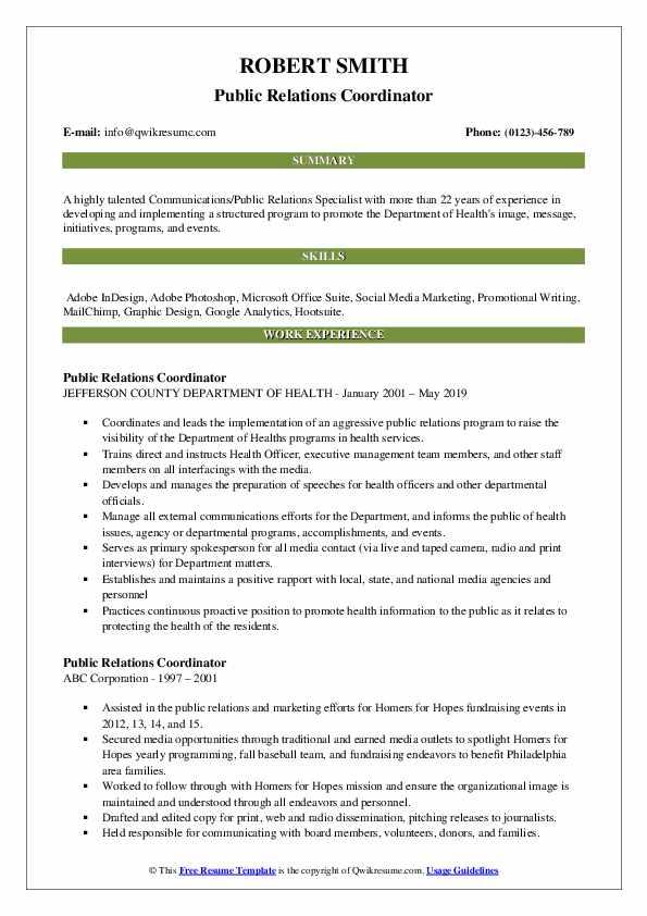 Public Relations Coordinator Resume Model