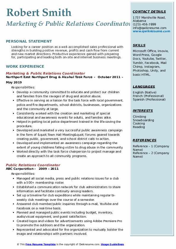 Marketing & Public Relations Coordinator Resume Sample