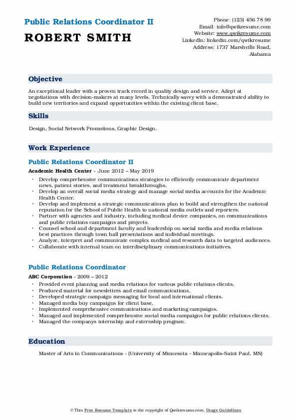 Public Relations Coordinator II Resume Sample