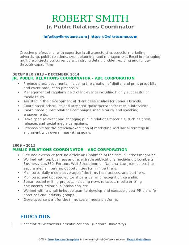 Jr. Public Relations Coordinator Resume Format