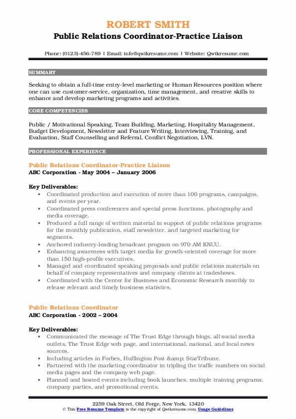 Public Relations Coordinator-Practice Liaison Resume Template