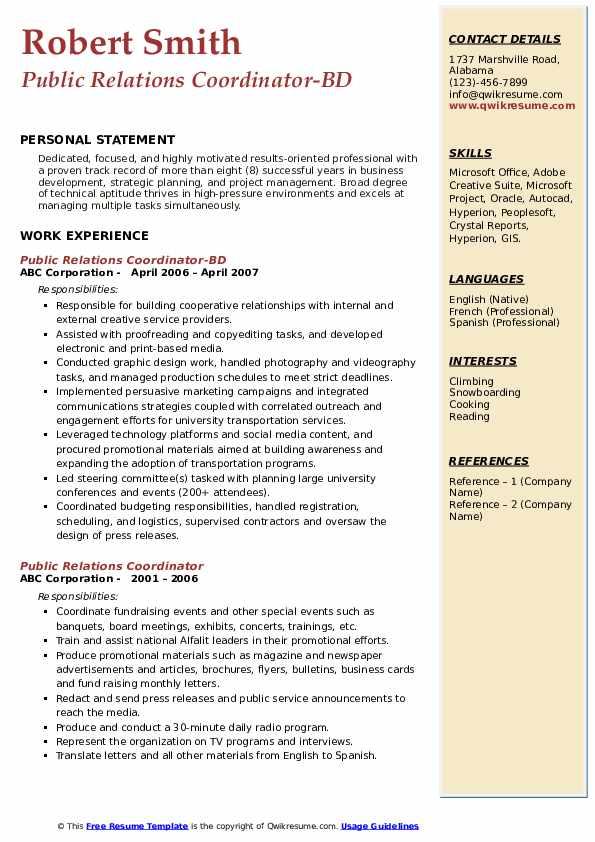 Public Relations Coordinator-BD Resume Example