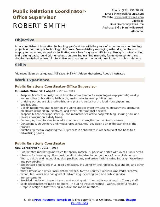 Public Relations Coordinator-Office Supervisor Resume Template