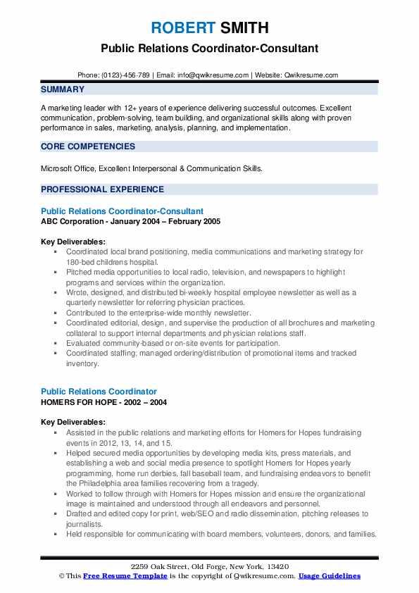 Public Relations Coordinator-Consultant Resume Template