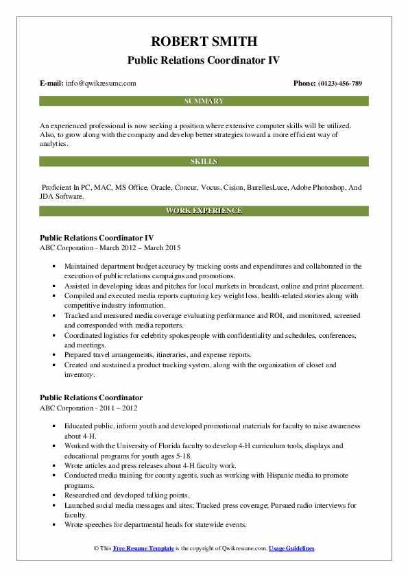 Public Relations Coordinator IV Resume Format
