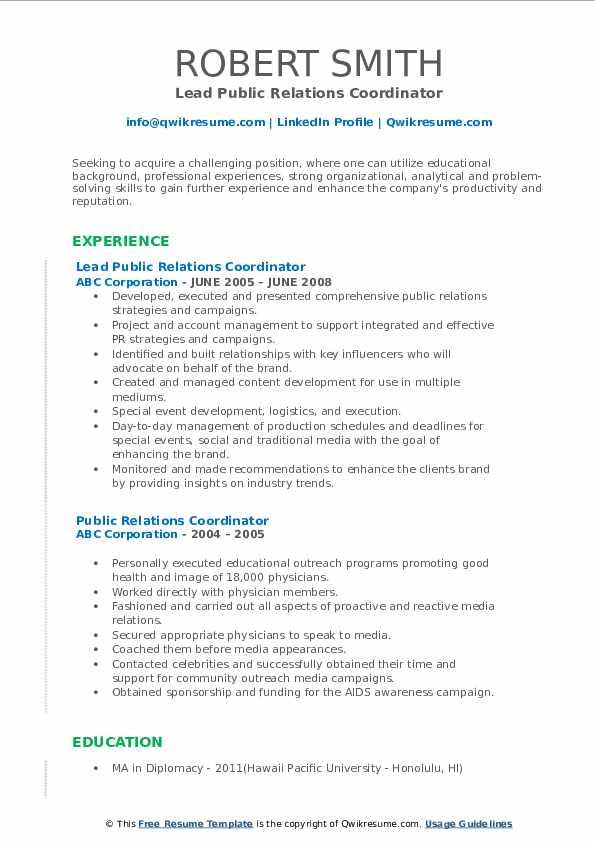 Lead Public Relations Coordinator Resume Example