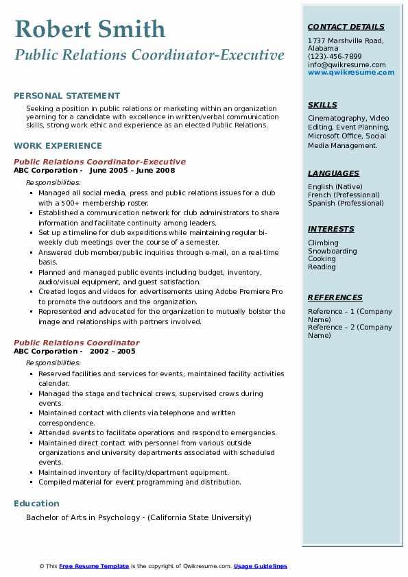 Public Relations Coordinator-Executive Resume Sample