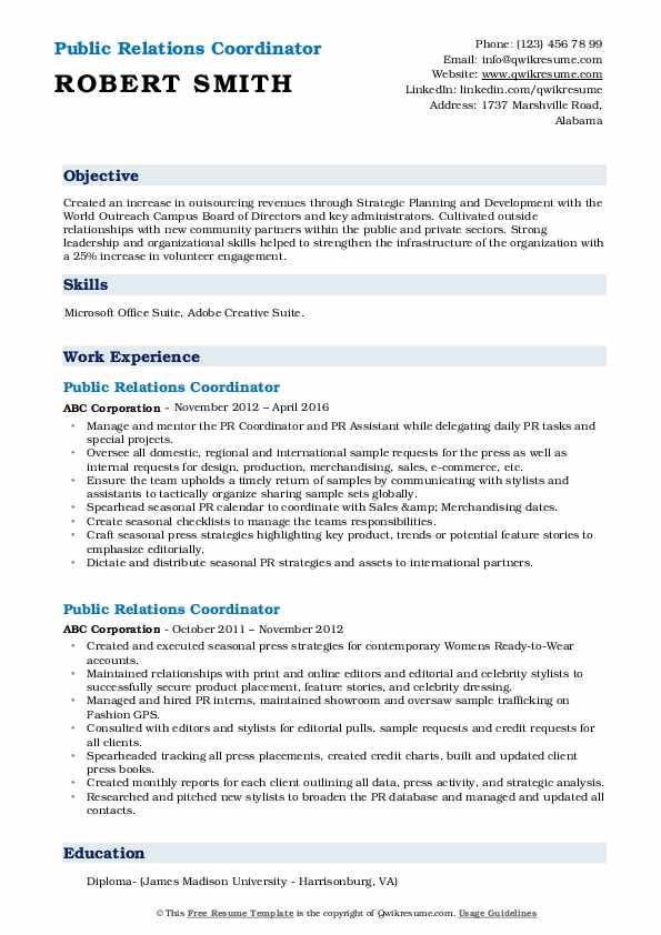 Public Relations Coordinator Resume example