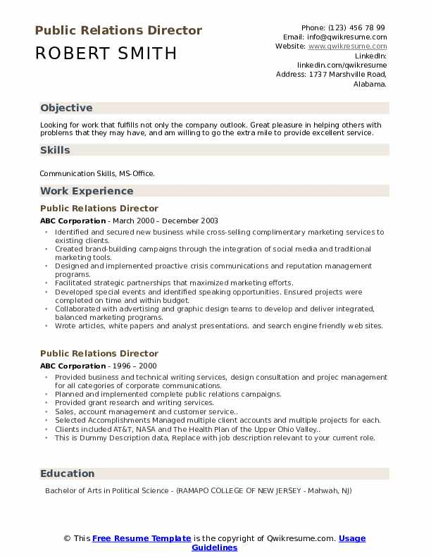 Public Relations Director Resume example